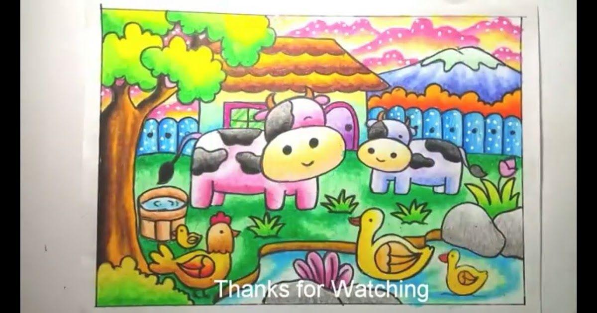 30 Gambar Sketsa Kartun Sapi Cara Menggambar Dan Mewarnai Gradasi Oilpastel Crayon Menggambar Peternakan Drawing Farm Downlo Cara Menggambar Kartun Drawing