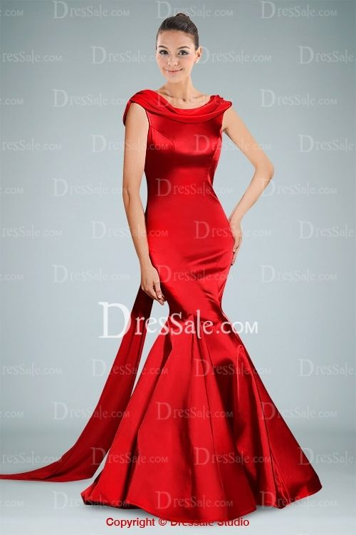 7ce93dd812fb Classy Red Satin Evening Gown Accented with V-back Design and Bowtie Detail  is so sensuous.