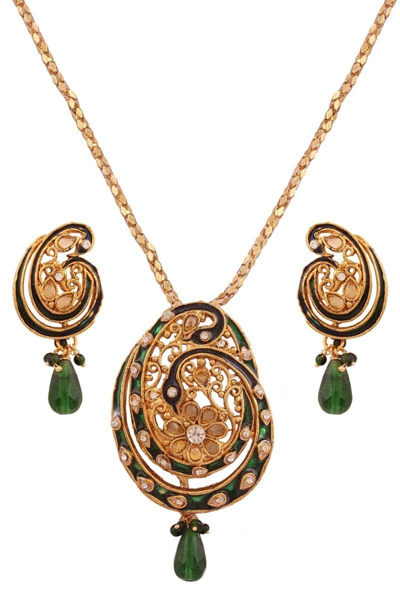 Green meenakari gold plated pendant set with chain jewellery on