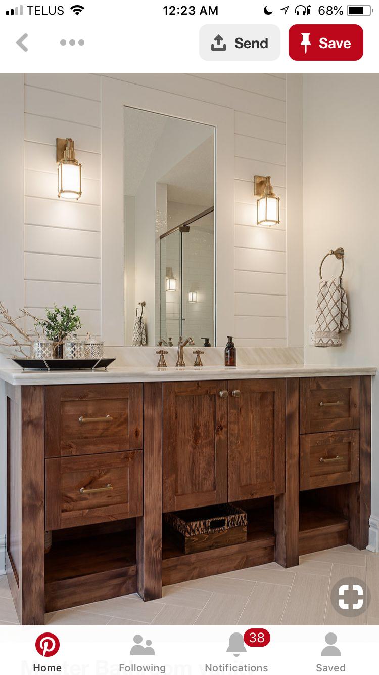 Love the shiplap behind the vanity Bathroom vanity units