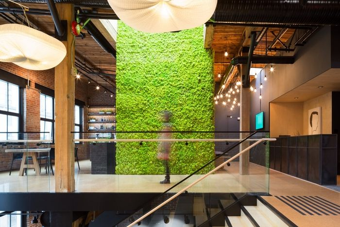 Office tour slack offices vancouver slacks green for Green wall vancouver