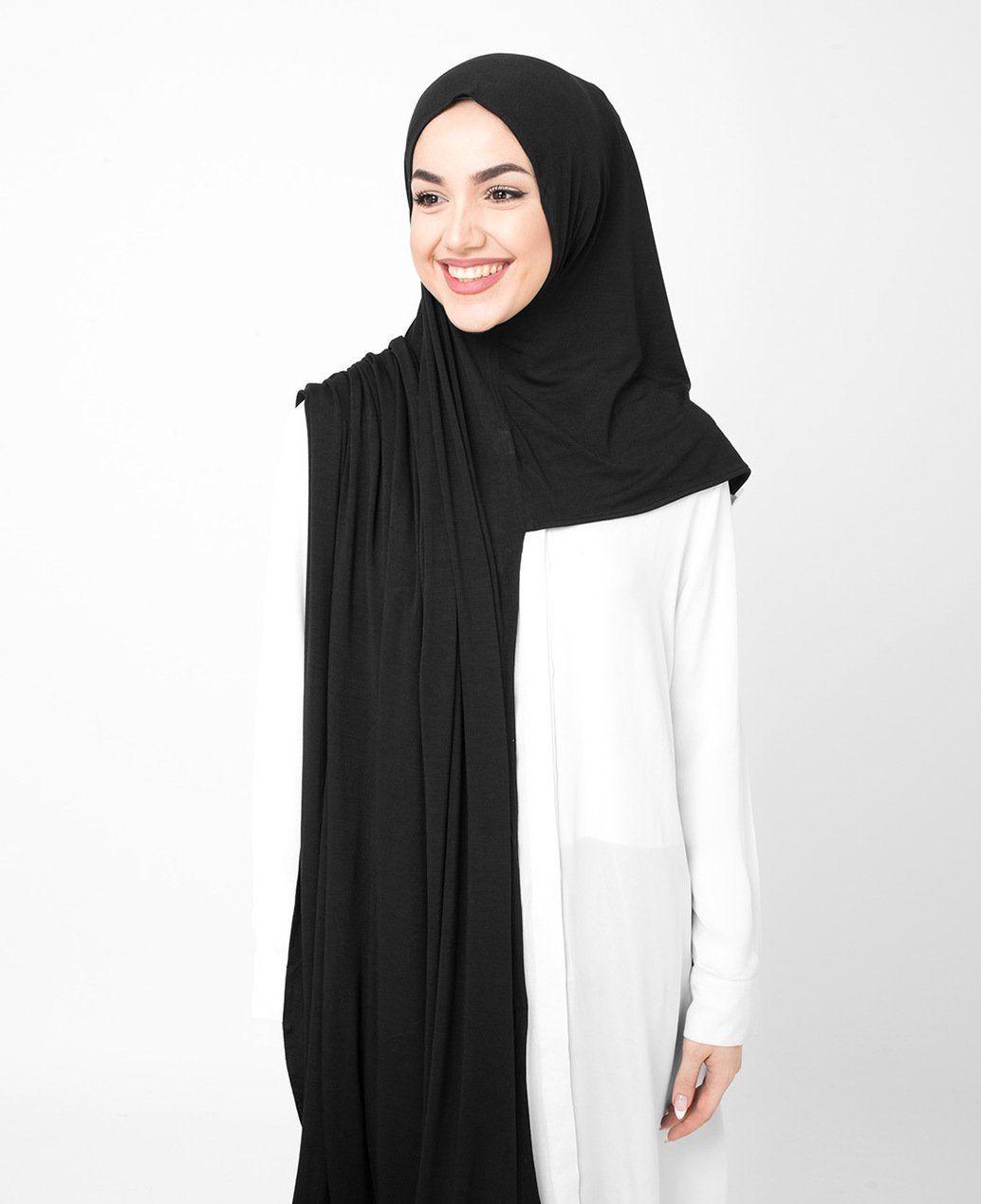 Photo of Jet Black Jersey Hijab