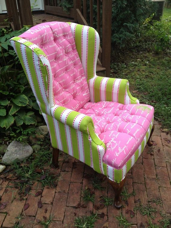 Pink Green Wingback Chair: | A WINGBACK CHAIRS | Pinterest ...