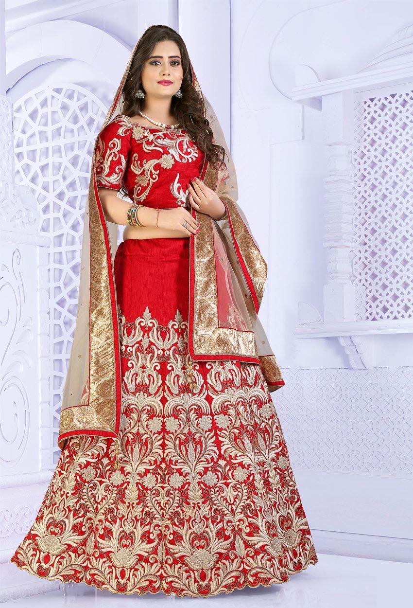 a94c78e6b Red Bhagalpuri Silk Circular Chaniya Choli
