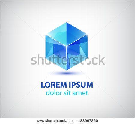 vector blue crystal cube icon, logo isolated - stock vector
