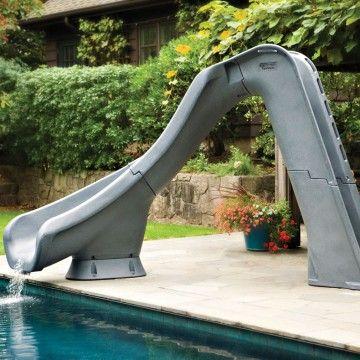 Sr Smith Typhoon Pool Slide Left Turn Gray Granite Swimming Pool Slides Backyard Pool Landscaping Backyard Pool