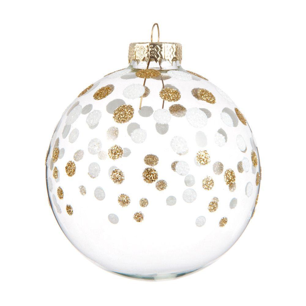 Boule De Noel Transparente A Decorer avec boule de noël en verre dorée 8 cm pÉpites | maisons du monde