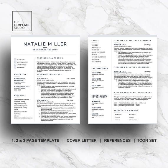 Teacher resume template for Word  Pages (1, 2 and 3 page resume and