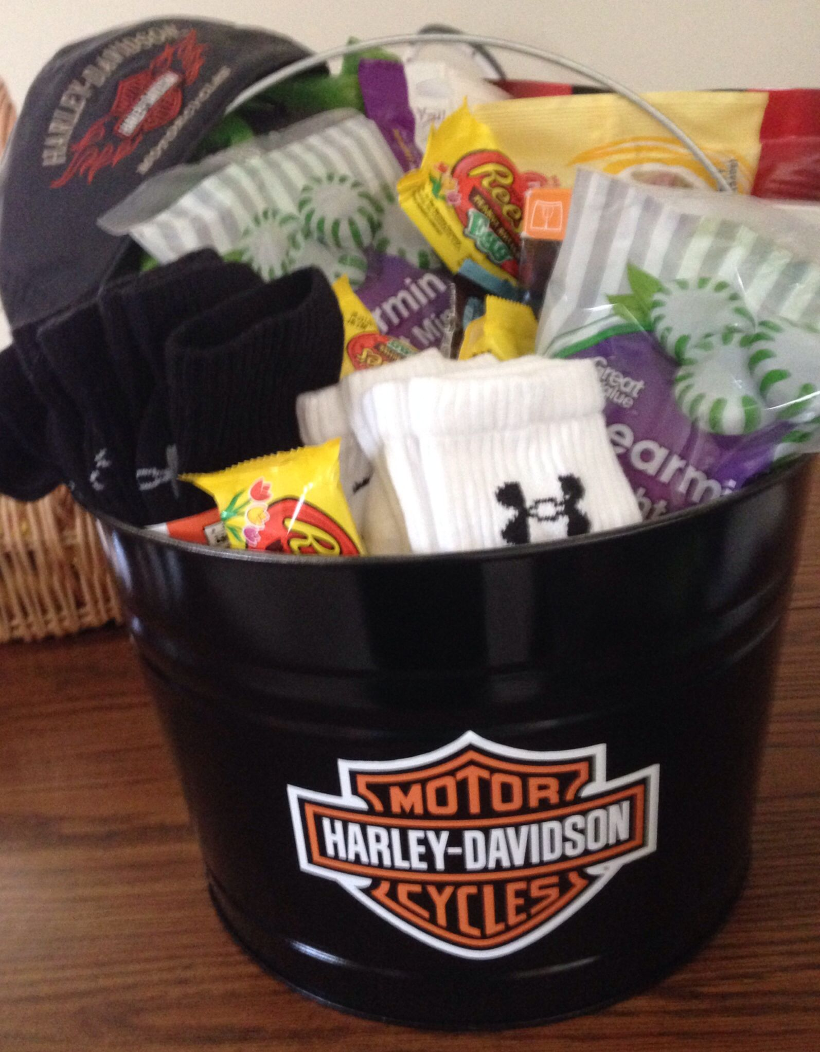 man's easter basket harley davidson | gift ideas | pinterest
