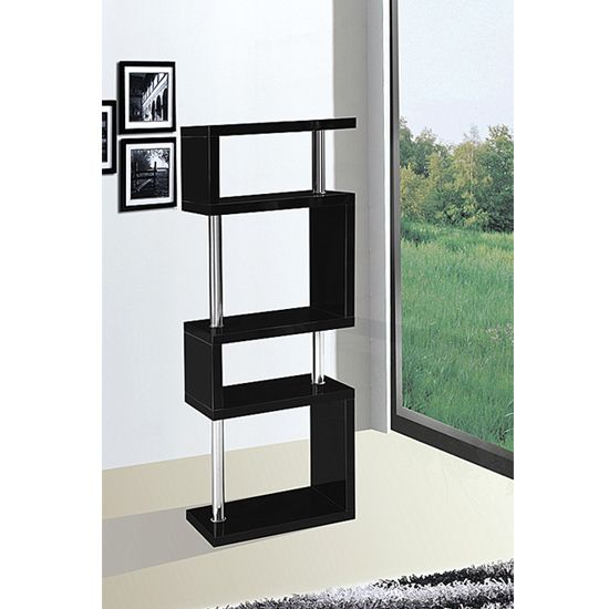 Miami black slim shelving unit in high gloss stuff to - Glass display units for living room ...