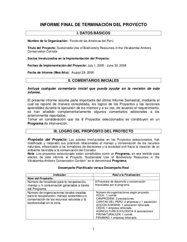 1 Informe Final De Terminacion Del Proyecto I Datos Basicos