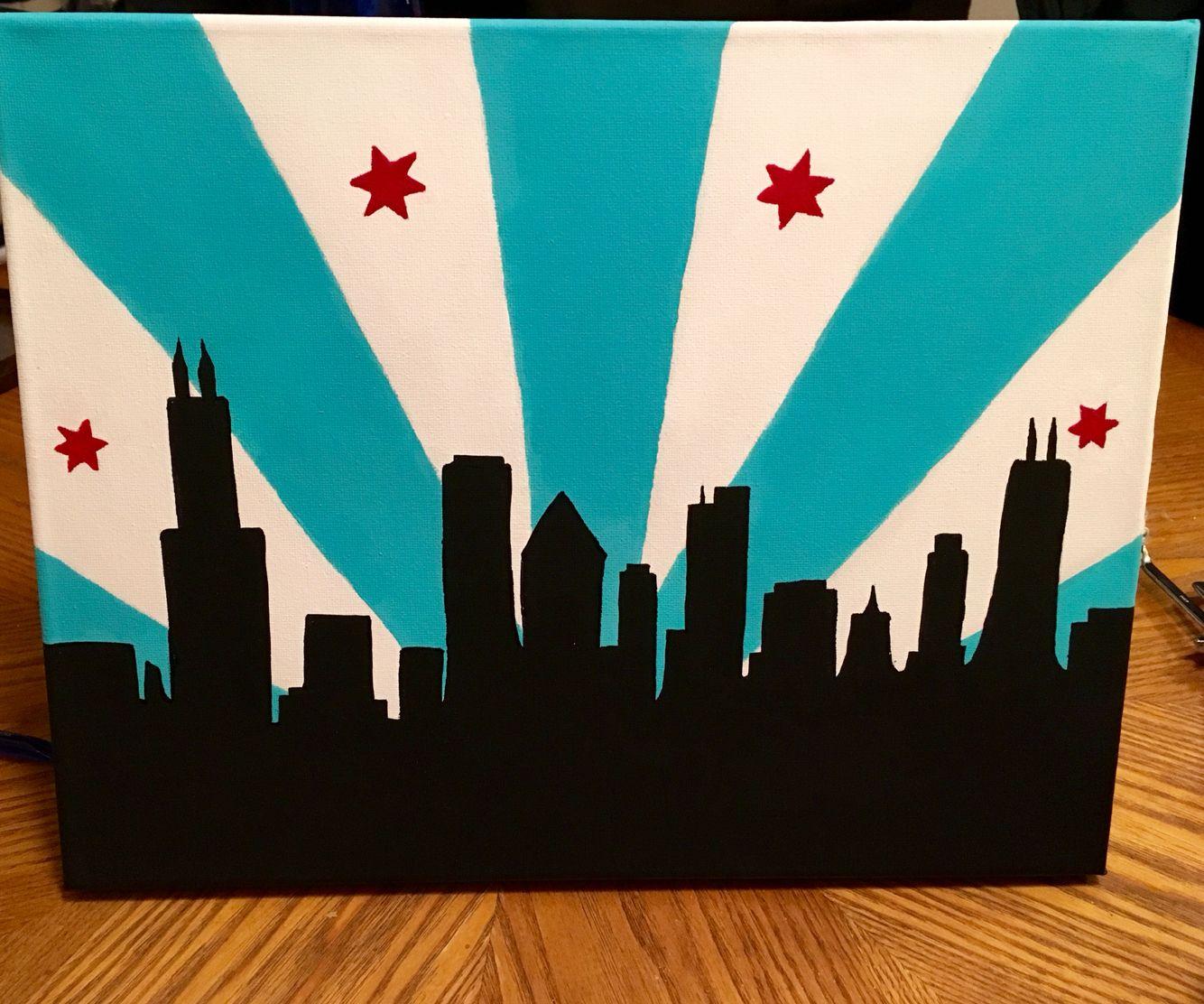 Chicago skyline flag canvas DIY | DIY | Pinterest | Chicago ...