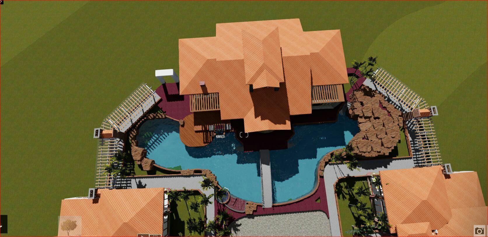 Vista superior del área social y piscina, proyecto Choluteca, Honduras   Arq. Hector Larios