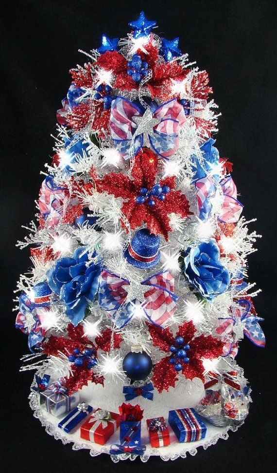 Mini tabletop christmas tree th of july patriotic