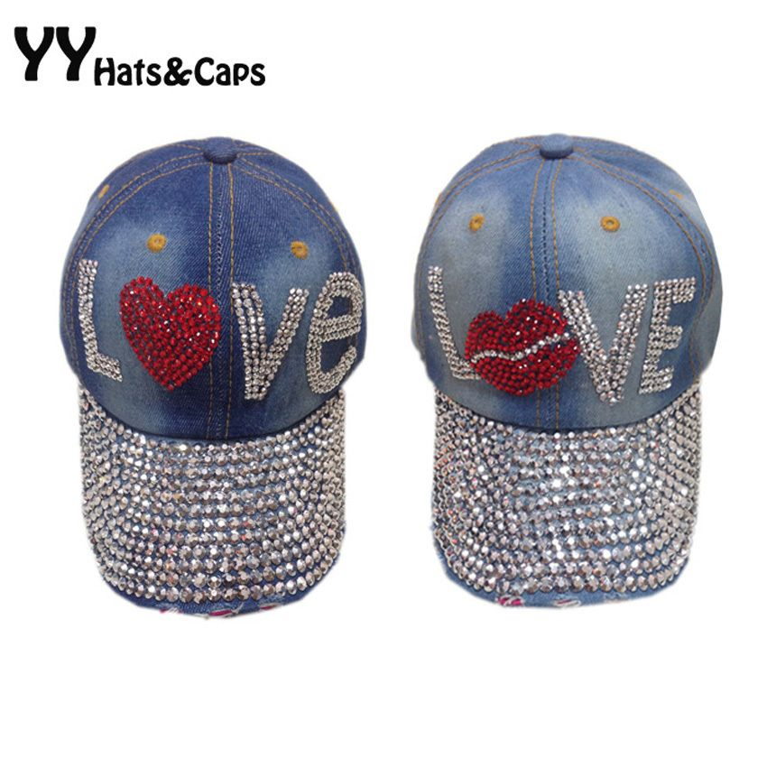 Jean Wholesale Bling Diamond Brilliant Glass Denim Caps Women LOVE Baseball  Cap Men Summer Sun Hat Rhinestone 1 pcs lot YY0738 12dc4c0ca724