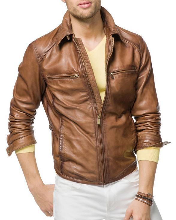 Super Tan Brown Men Biker Leather Jackets Get Custom