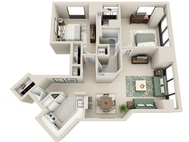 2 Bed 1 Bath Apartment In Detroit Mi Riverfront Towers Apartments Sims House Design Small House Plans House Plans