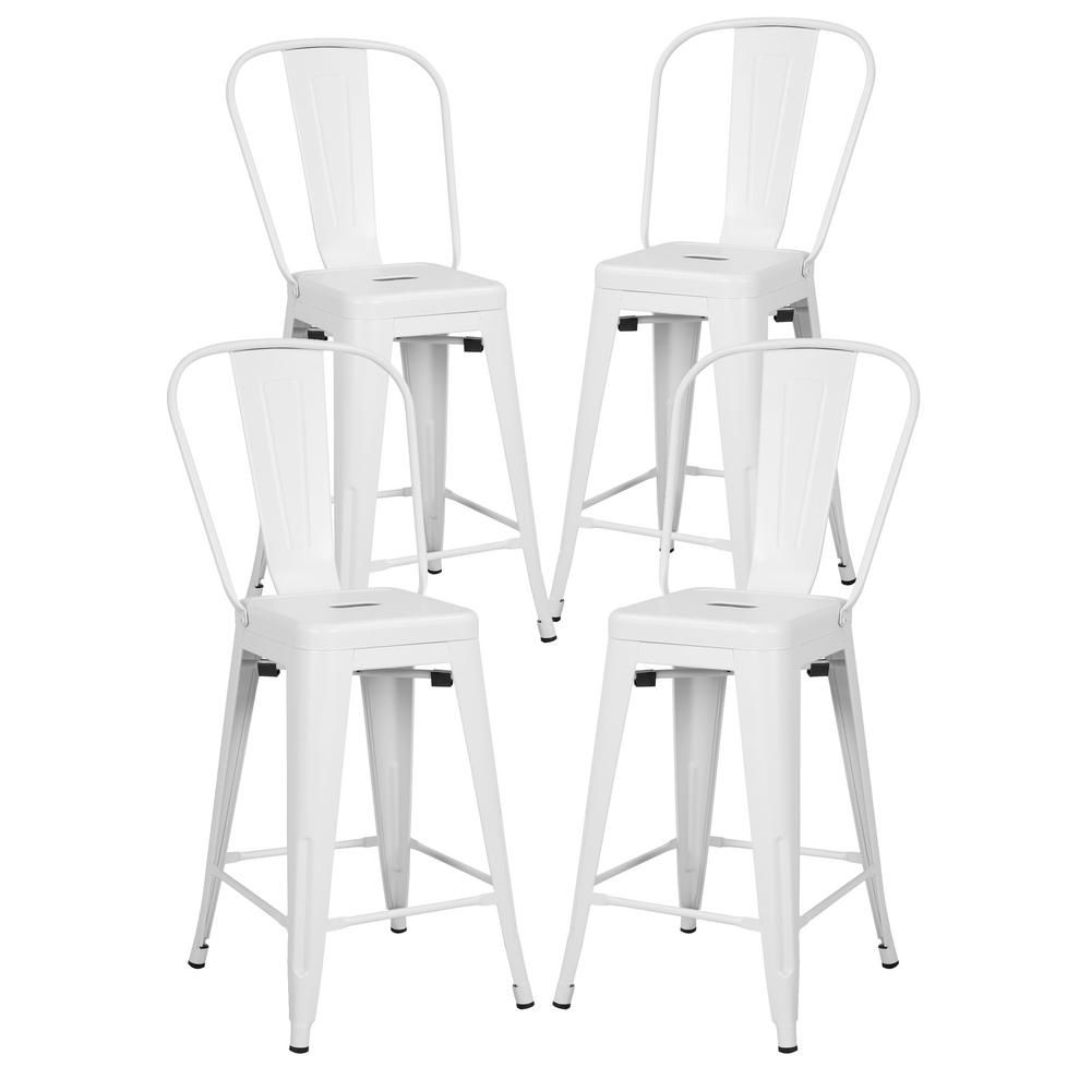 Poly And Bark Trattoria 24 In High Back Counter Stool In Black