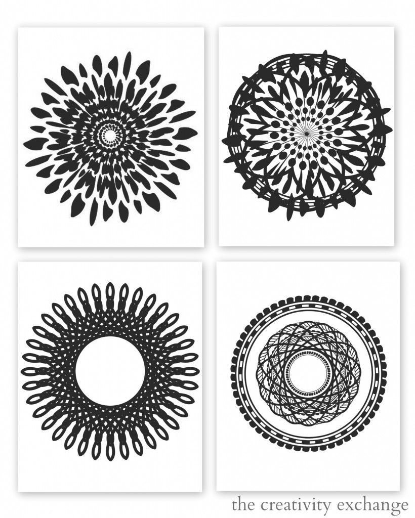Printable modern wall stencils - Free Printable Collection Of Modern Black And White Prints