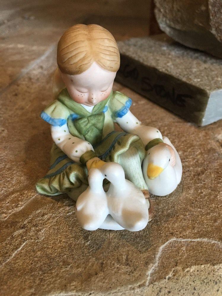 Vintage Holly Hobbie Porcelain Figurine of Girl Feeding Ducks Little ...