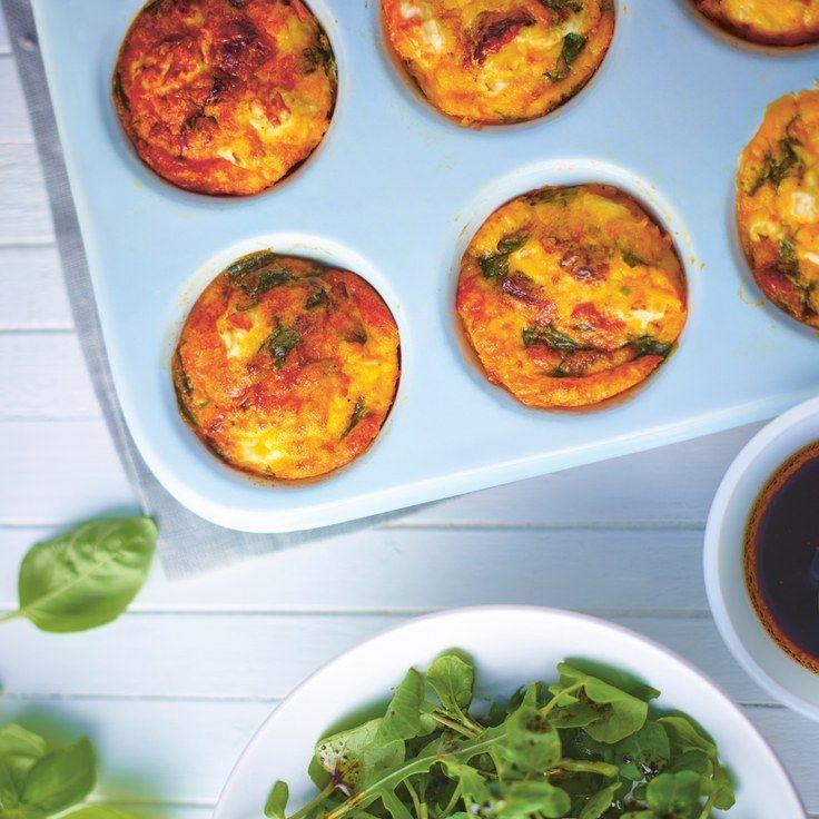 Feta spinach and basil omelette muffins recipe