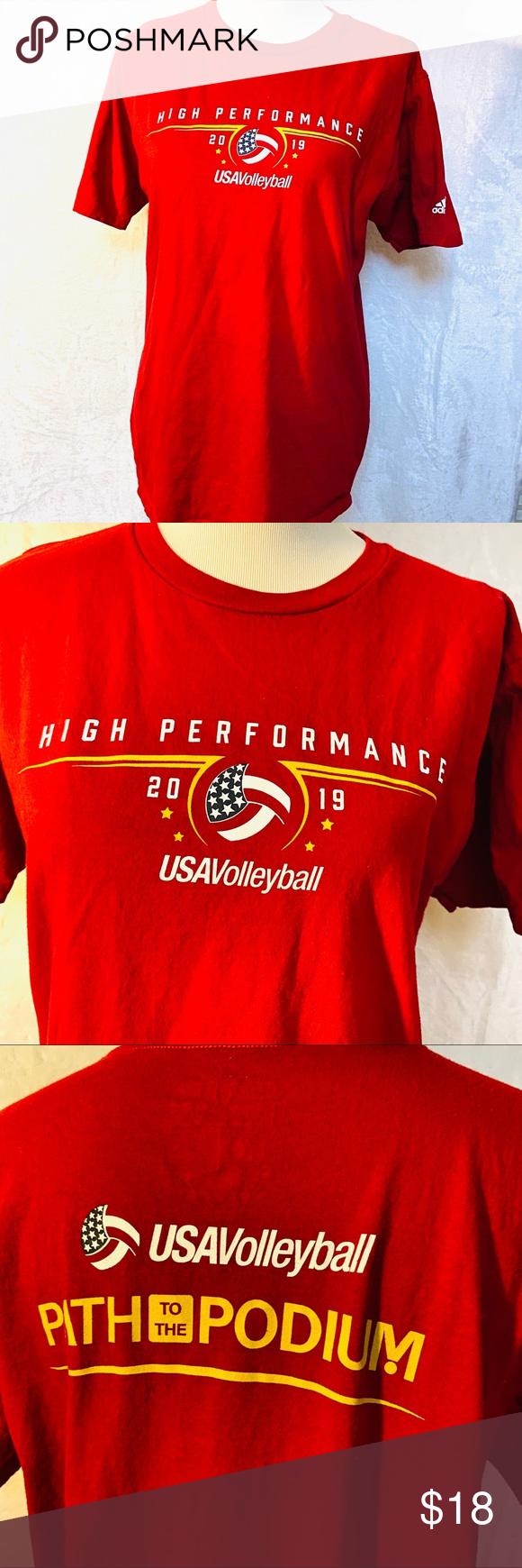 Adidas Usa Volleyball High Performance T Shirt Adidas Shirt Usa Volleyball Shirts