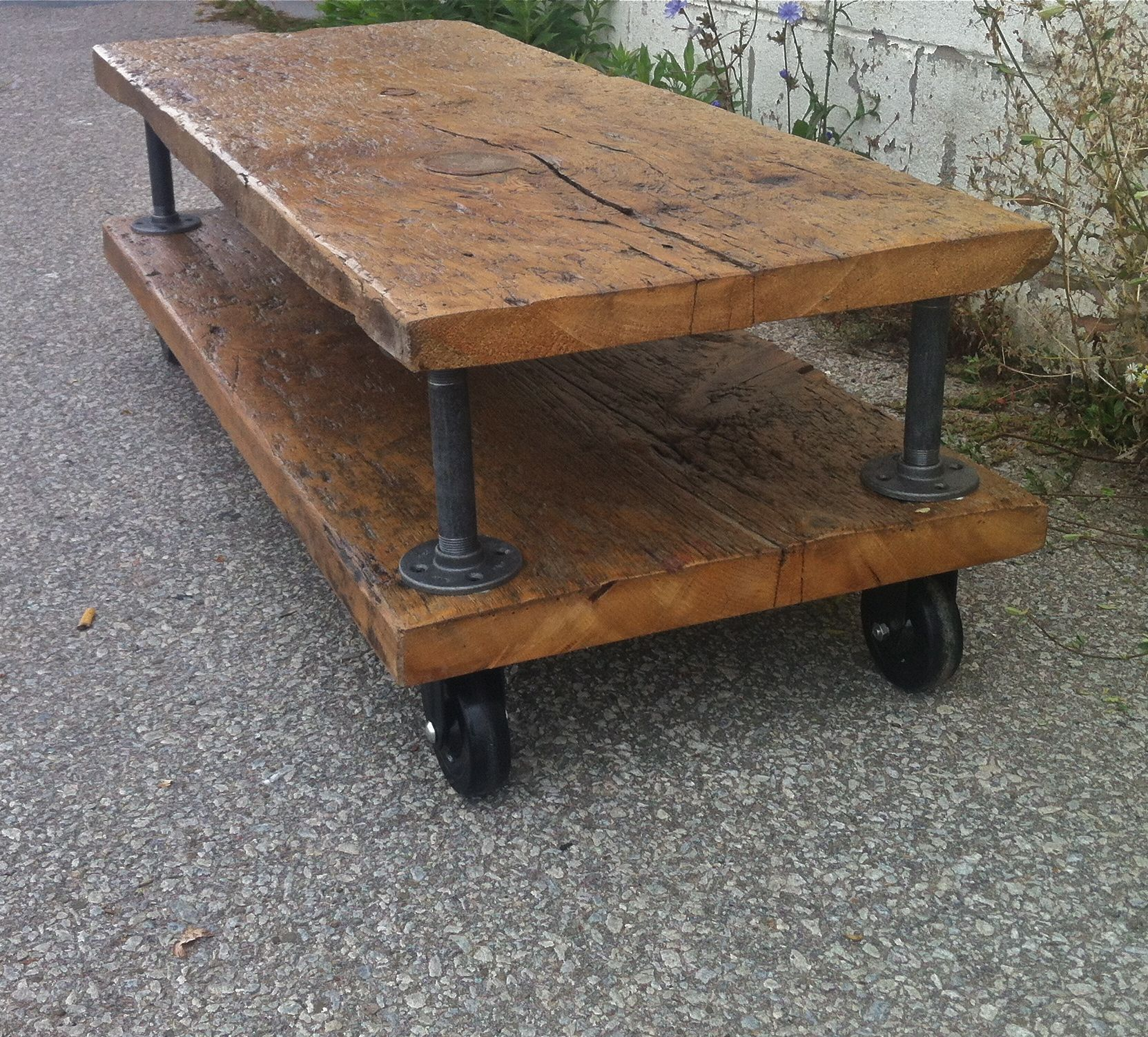 Rustic Wood and Pipe Coffee Table by Philmons on Etsy