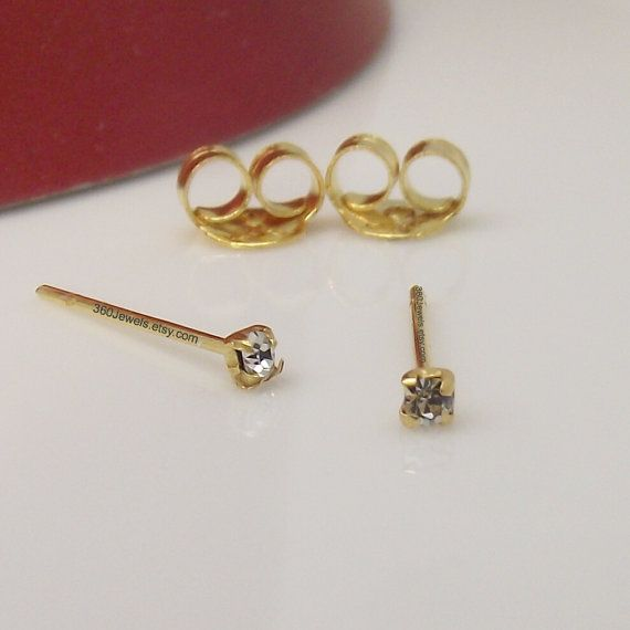 Super Tiny Diamond Cz Stud Earrings For Men These 1 5mm Are Made From Sterling Silver And Plated In Real Yellow Gold Great Ear