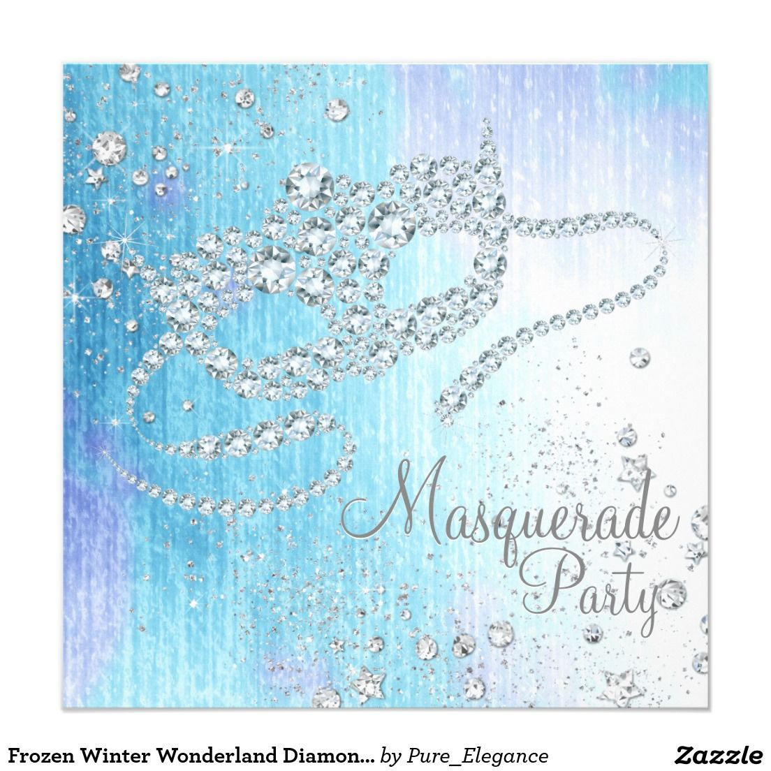 Frozen Winter Wonderland Diamond Masquerade Party Invitation ...
