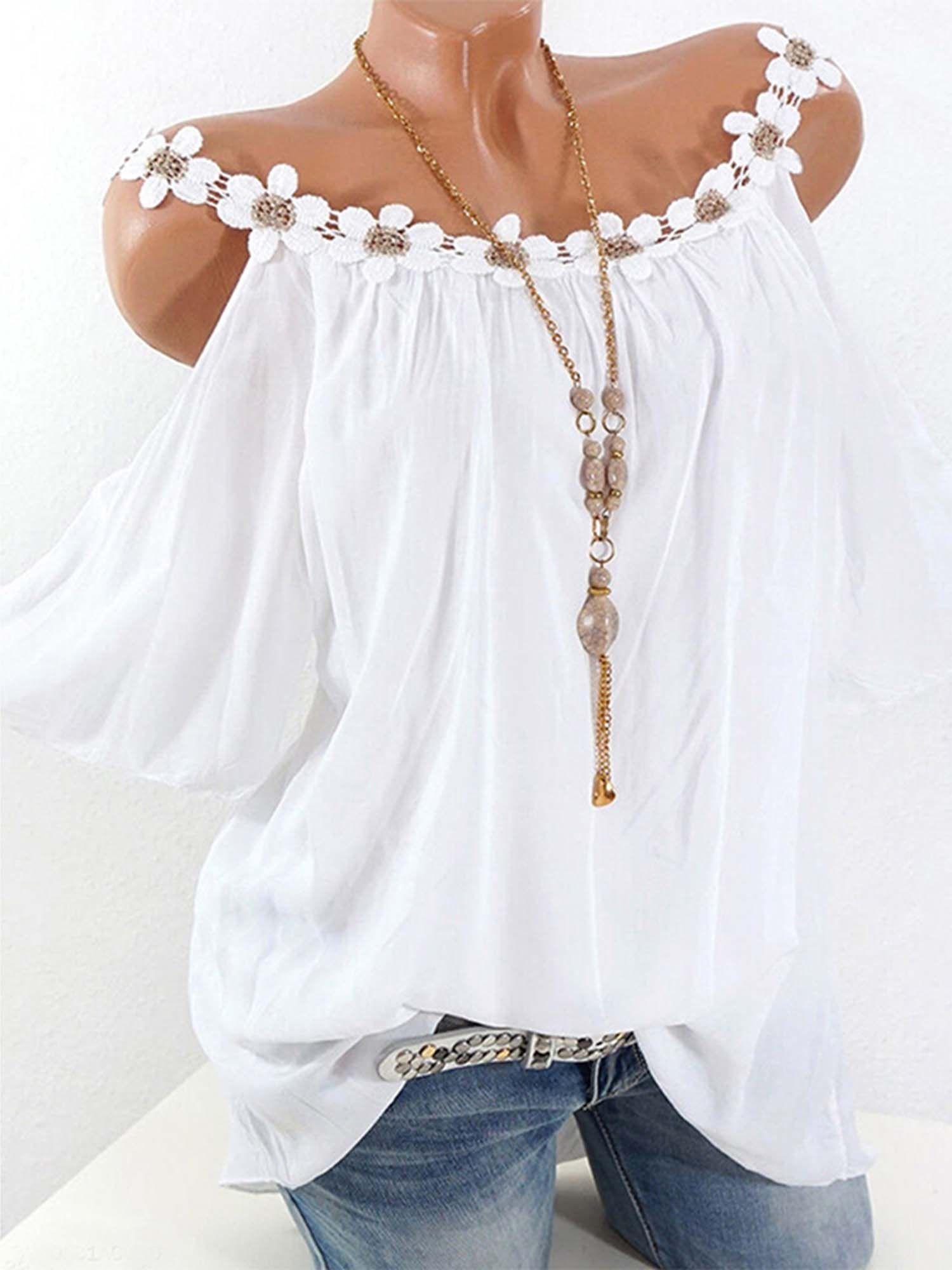 Fashion Women Plus Size Cold Shoulder T-Shirt Short Sleeve Loose Tops Blouses