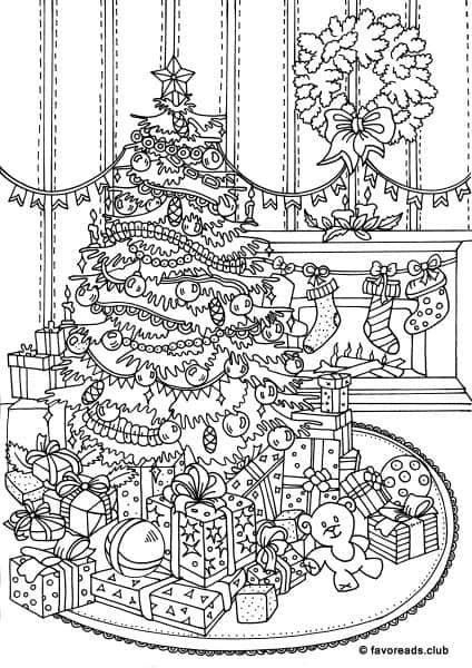 Christmas Decorations Christmas Tree Presents Stockings Hung On The Fireplace Coloring Pages Merry Christmas Coloring Pages Christmas Coloring Pages