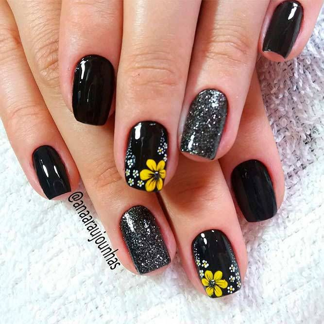18 Creative Ways Update You Mani With Yellow Flowers Nail Art Flower Nails Flower Nail Art
