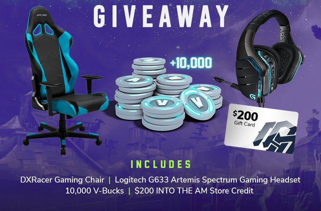 6d0ed0c6d1 Prizes: DXRacer Gaming Chair Logitech G633 Artemis Spectrum Gaming Headset  10,000 Fortnite V-Bucks $200 INTO THE AM Store Credit Giveaway Ended:  2018.07.10.