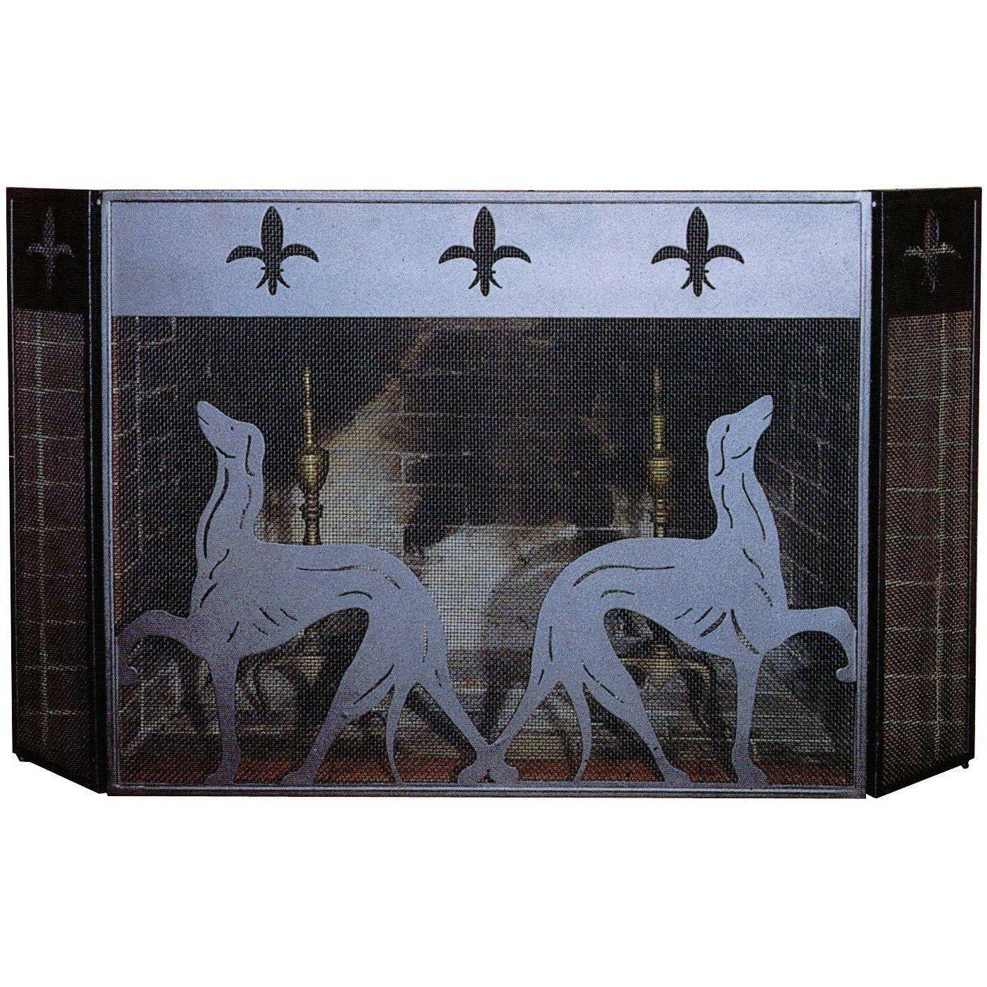 50 Inch W X 30 Inch H Greyhound Folding Fireplace Screen