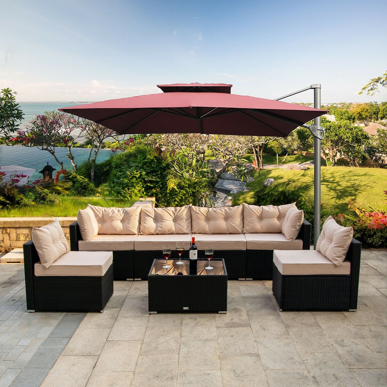 7 Pcs Outdoor Patio Garden Furniture Sectional Rattan Sofa Set With Table Beige In 2020 Garden Patio Furniture Outdoor Sectional Furniture Large Patio Umbrellas