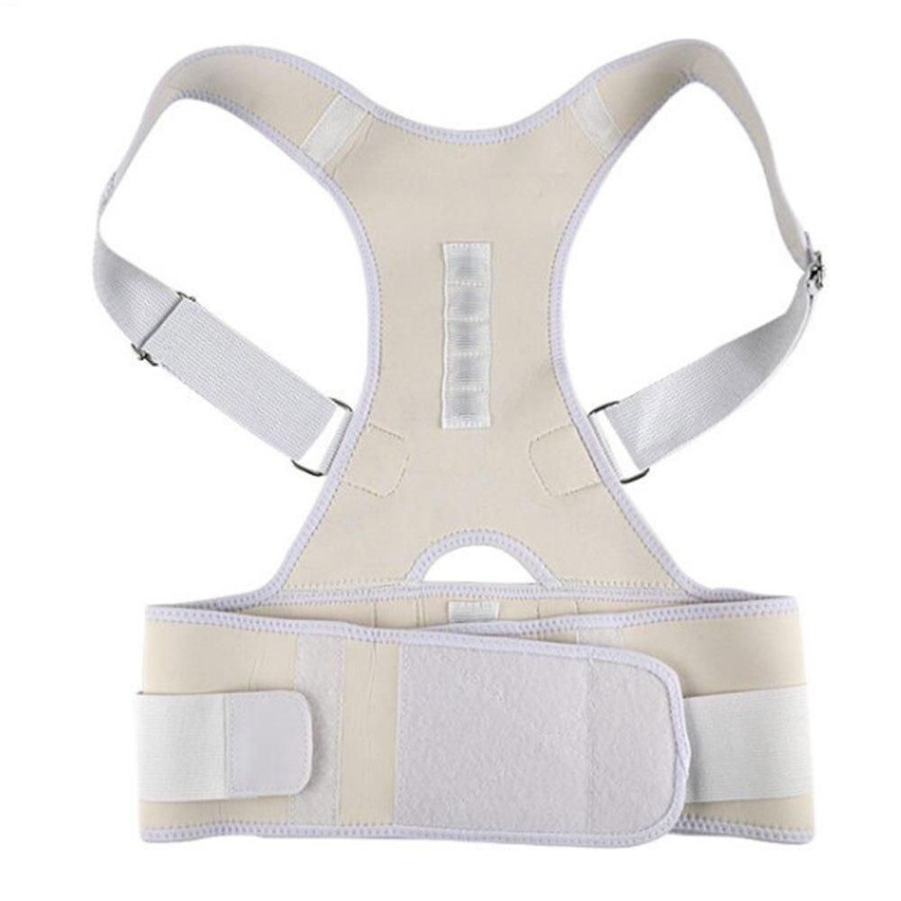Women Men Shoulder Posture Corrector Belt Adjustable Shoulder Lumbar Brace Back Support Belt Hump Posture Correction Body Shaper Features: * Supporting design helps correct bad body posture of back and shoulder * Pulls shoulder & back to correct posture * Provides gentle back support * Prevention of adolescent customary humpback * 10 High energetic magnets contact the spine & lumber region * Non restricting uni-sex design for men and women * Fully adjustable, comfortable & easy to wear Made of a