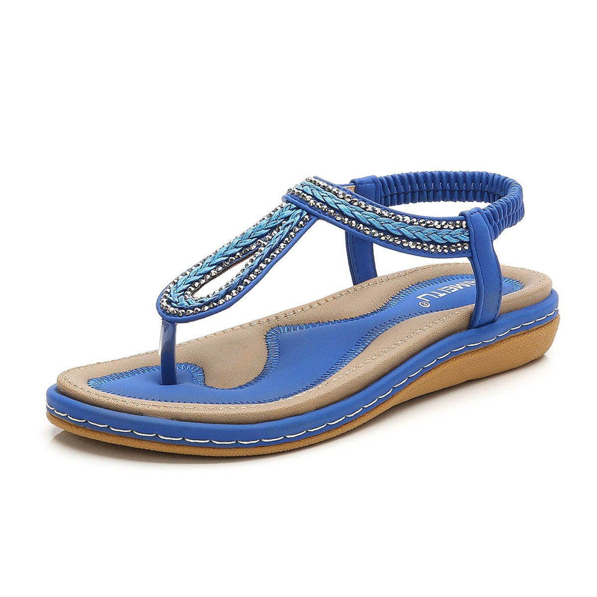 6cbe588b9e5 UfunUshime Women s Rhinestone Summer Flat Sandals Bling Bohemian T-Strap  Soft Flip Flops for Women   It is great having you for having seen our  picture.