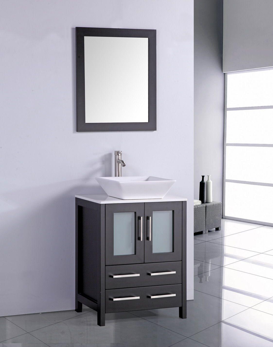 Legion 24 Inch Modern Vessel Sink Bathroom Vanity Espresso Finish