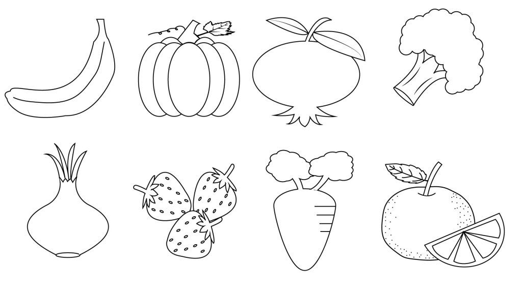 Fruit And Vegetable Coloring Pages To Print Vegetable Coloring Pages Coloring Pages Coloring Pages For Kids