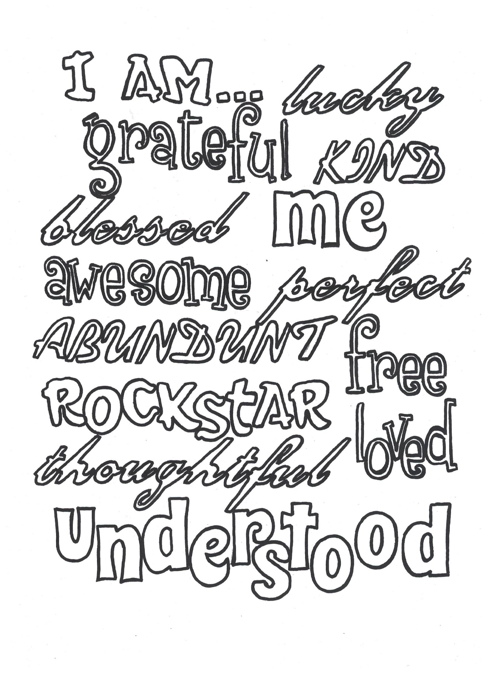 i am words coloring page