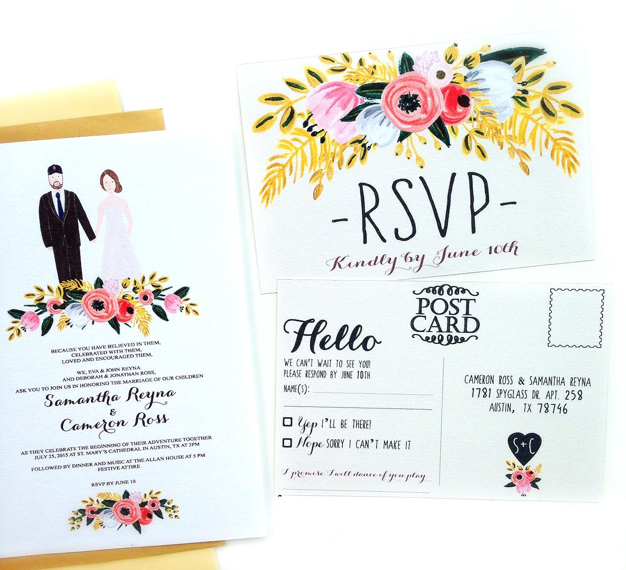 Just finished this custom couple portrait wedding invitation and ...