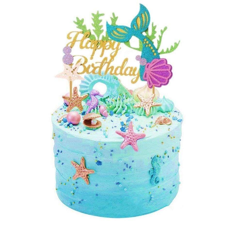Glitter Mermaid Kuchendekoration Happy Birthday Kuchen Picks Mermaid