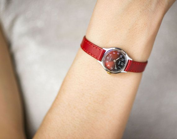 014aa7ebc73 Simple women s watch Dawn round small watch red faded burgundy shades watch  petite premium leather strap