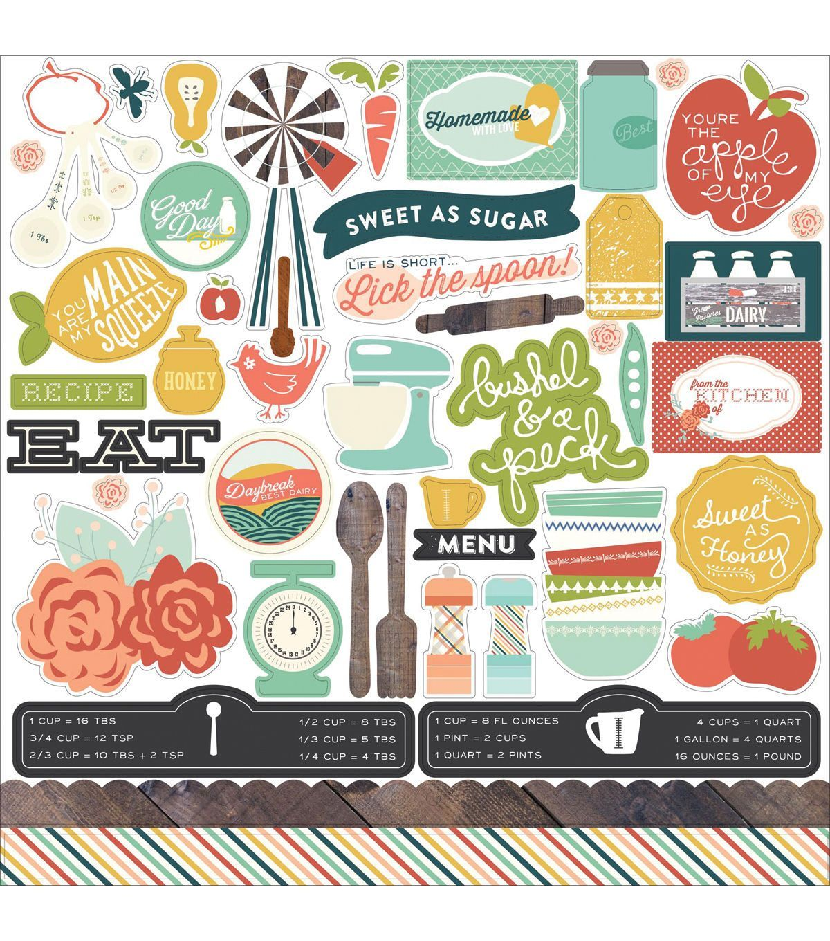 Scrapbook paper echo park - Echo Park Paper Company Made From Scratch Element Cardstock Stickers
