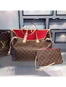 146255aa1ee8 Louis Vuitton Monogram canvas Neverfull Bag GM Cherry