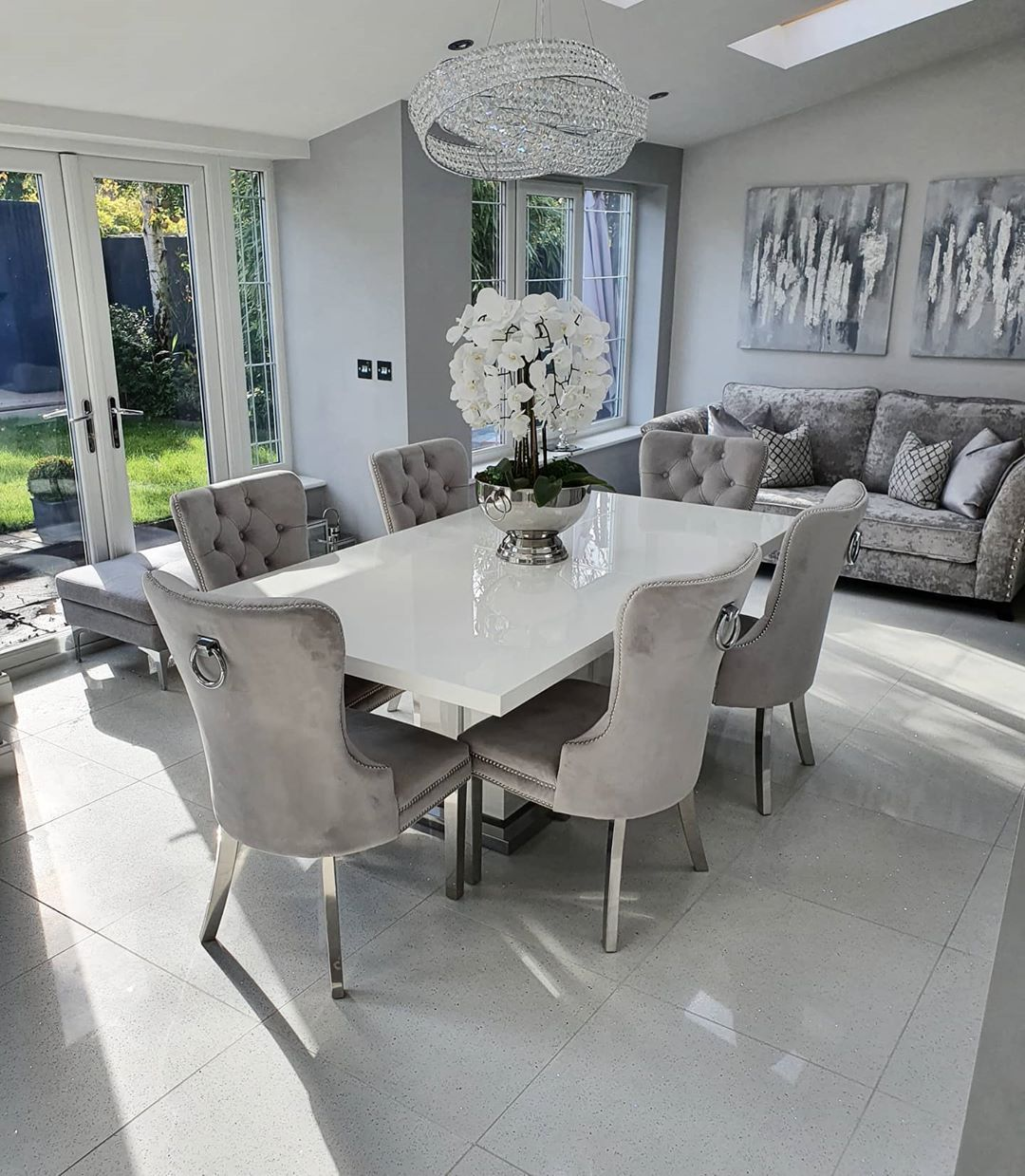 The Layout Is Similar To Canon House Table Looks Fine In Front Of Sofa Dining Room Small Dinning Room Decor Living Dining Room Dining room design gray