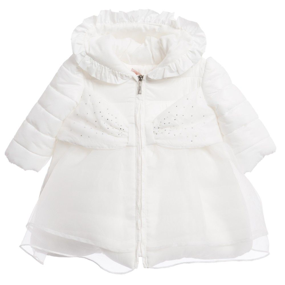 Baby Girls White Bow Coat with Diamanté & Tulle, Miss Blumarine ...