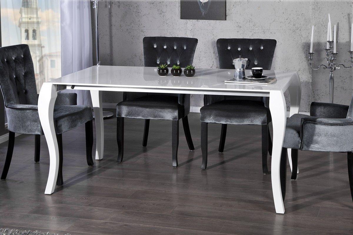 Table à manger blanche pieds baroque extensible - Comforium.com ...