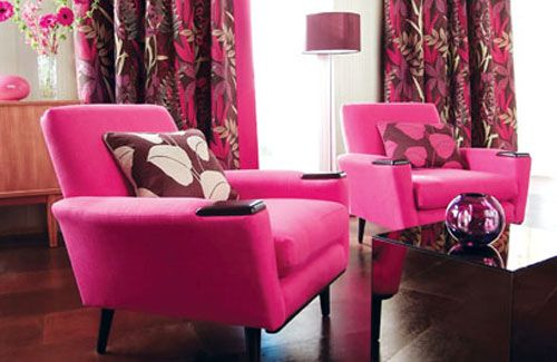 I love the curtains and BRIGHT pink chairs in the white room. | Pink ...