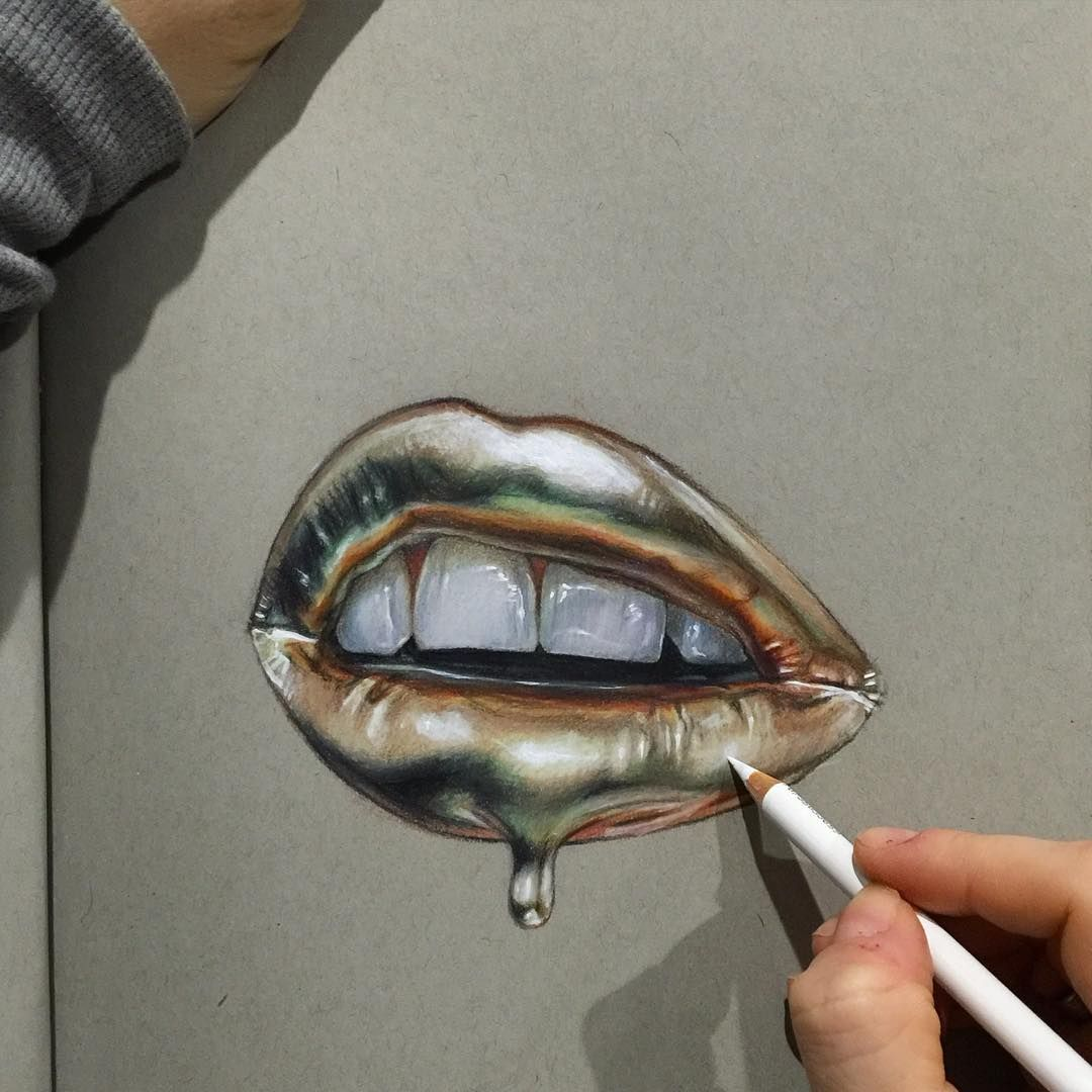 Emmalee Maine On Instagram I Like Drawing Shiny Things Reference Courtesy Of Vladamua Mouth Drawing Color Pencil Art Prismacolor Art